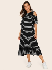 Cold Shoulder Striped Flounce Hem Dress