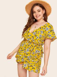 Plus Ditsy Floral Belted Playsuit