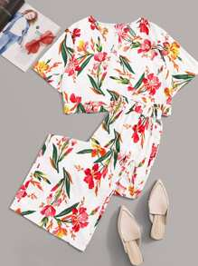 Plus Floral Print Tie Back Top With Pants