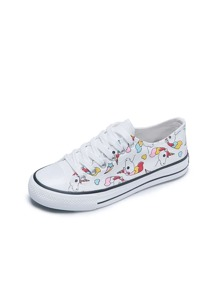 Unicorn Print Lace-up Front Sneakers