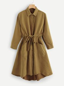Drawstring Solid Collar Coat