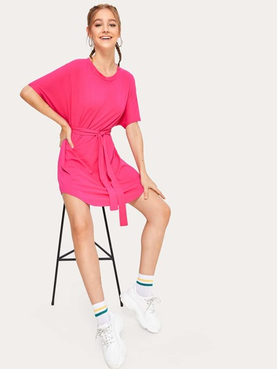 573424d8f42 Neon Pink Self Belted Curved Hem Dress