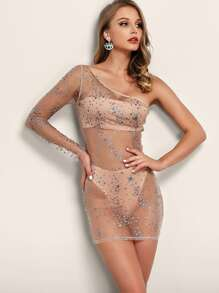 Joyfunear One Shoulder Rhinestone Detail Sheer Mesh Dress