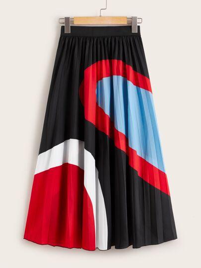 ff5c6f28b5 Color Block Pleated Skirt