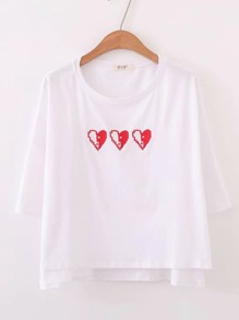 Heart Print High Low Tee