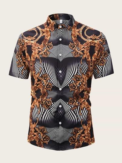7d47bde6ba2d8c Men Baroque   Stripe Print Shirt
