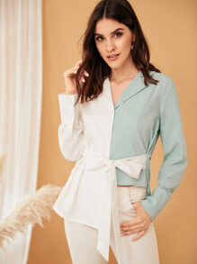 Two Tone Spliced Asymmetric Self Tie Shirt