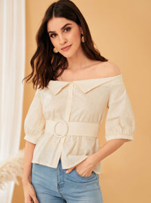 Off the Shoulder Belted Button Front Blouse