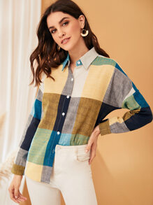 Drop Shoulder Colorblock Curved Hem Blouse