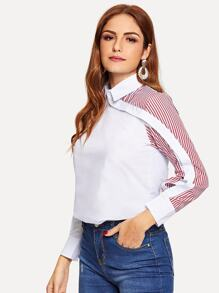 Striped Button Trim Front Shirt