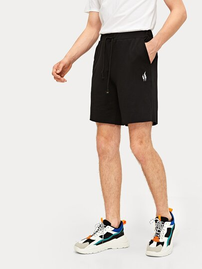 Guys Lightning Embroidery Drawstring Waist Shorts
