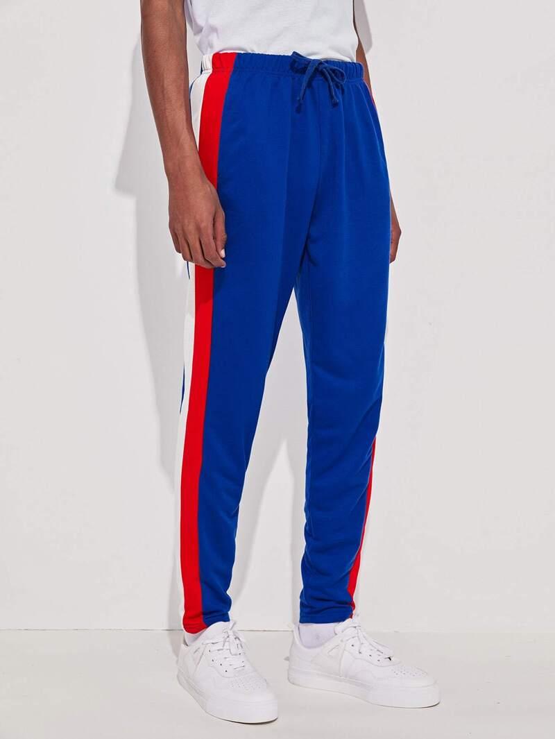 71e19afcb798 Pantalones deportivos de hombres de cintura con cordón de lado de rayas |  ROMWE
