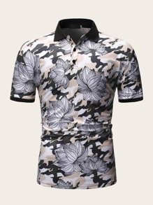 Men Contrast Binding Floral Print Polo Shirt