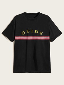 Men Letter & Stripe Print Tee