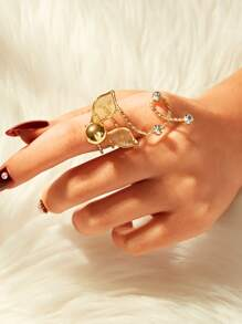 Rhinestone & Leaf Decor Spiral Ring 1pc