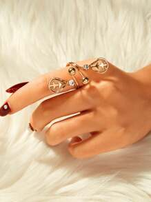 Rhinestone & Mesh Detail Spiral Ring 1pc
