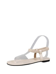 Clear Strap Slingback Flat Sliders