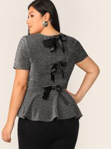 Plus Knot Detail Back Glitter Peplum Top