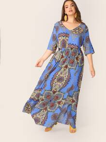 Plus Scarf Print Top & Slit Hem Maxi Skirt Set Without Belted