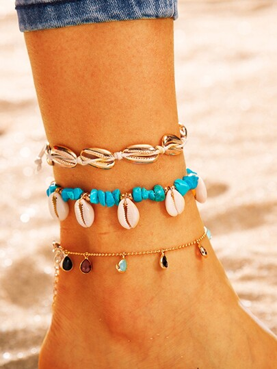 Shell & Water Drop Charm Chain Anklet 3pcs