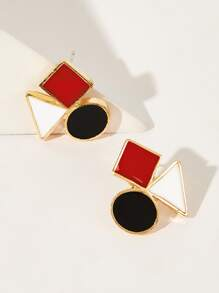 Round & Square Shaped Stud Earrings 1pair