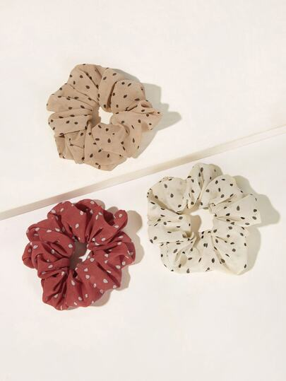 Polka Dot Elastic Hair Tie 3pack