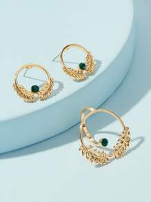 Palm Shaped Open Round Hoop Earrings & Ring 3pcs