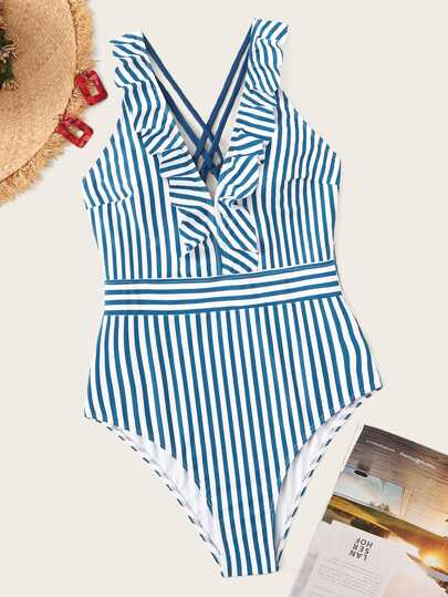4c2b0caed3 Striped Criss-cross Ruffle One Piece Swimsuit