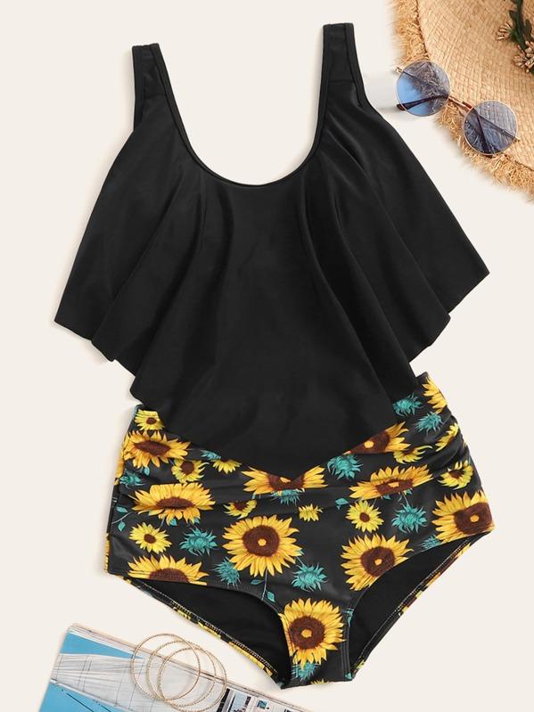 9d99bc76b3b Hanky Hem Top With Random Sunflower Print Bikini Set | SHEIN UK