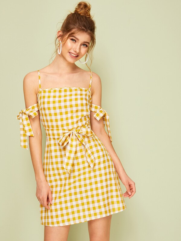 3f181518783 Gingham Print Knot Sleeve Belted Cami Dress