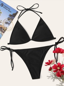 Triangle Halter Top With Self Tie Side Bikini Set