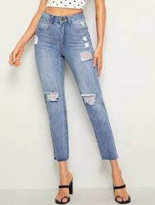 Ripped Raw Hem 5-pocket Jeans