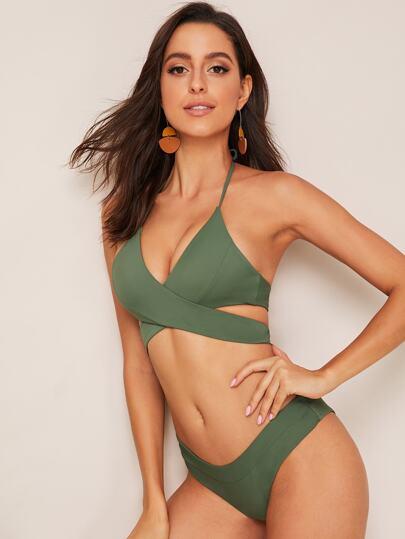85e65d631f1 Cross Wrap Halter Top With High Cut Bikini Set