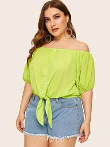 Plus Neon Green Button Front Knotted Bardot Blouse