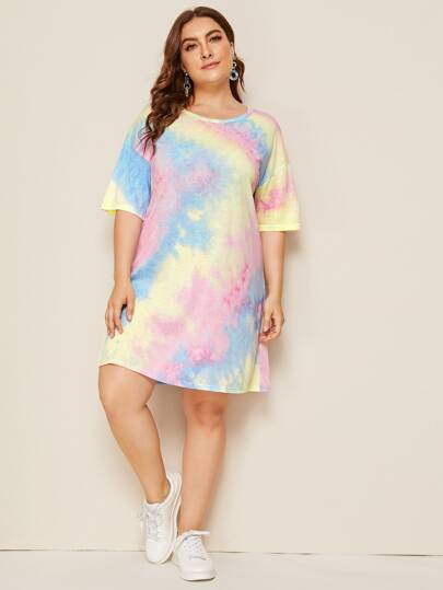 Plus Drop Shoulder Tie Dye T-shirt Dress