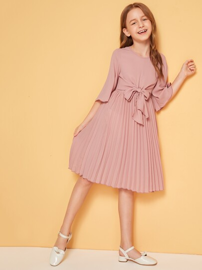 Girls Bell Sleeve Tie Front Pleated Dress