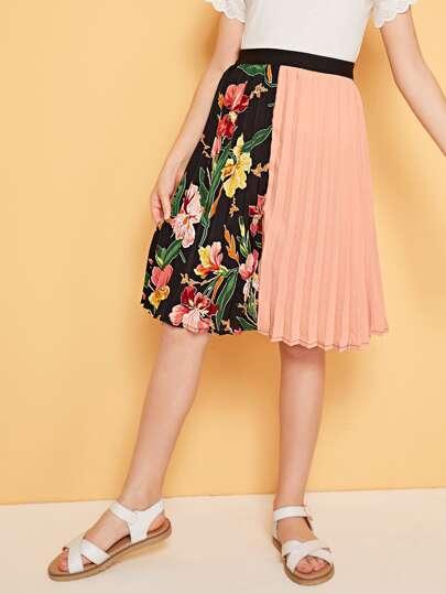 71aecdad453c42 Girls Botanical Print Colorblock Pleated Skirt