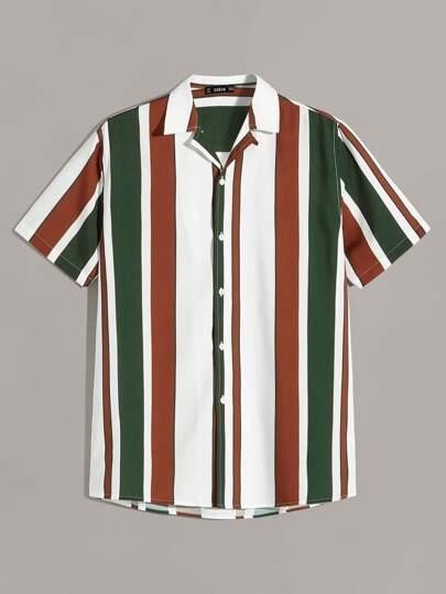 03e65dff27 Men Striped Notch Neck Shirt