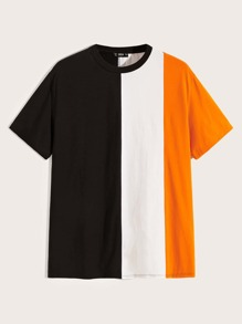 Men Neon Color-block Tee