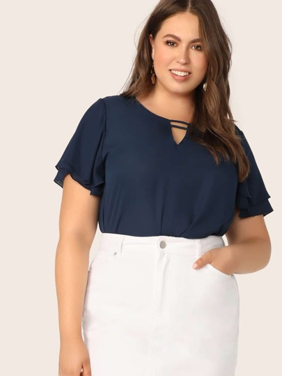 72abcc2b403 Plus Solid Flutter Sleeve V-cut Top