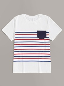 Men Pocket Front Stripe Tee