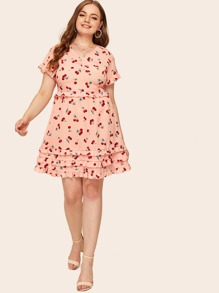Plus Cherry Print Tiered Layer Dress