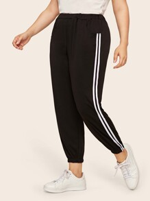 Plus Contrast Taped Side Sweatpants