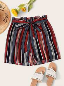 Plus Striped Self Tie Paper Bag Shorts