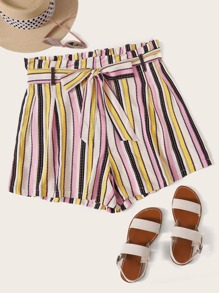 Plus Striped Self Tie Paperbag Waist Shorts