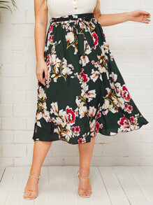 Plus Large Floral Print Belted Midi Skirt