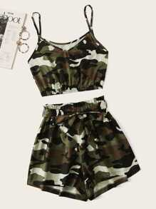 Plus Camo Print Cami Top With Shorts