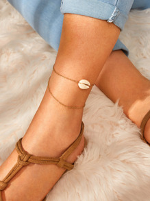 Shell Decor Chain Anklet 1pc