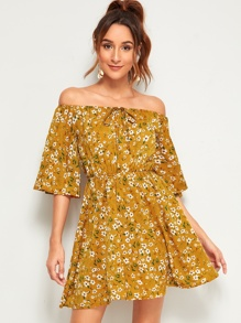 Ditsy Floral Off The Shoulder Knot Dress