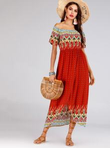 Tribal Print Tulip Hem Off Shoulder Dress